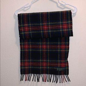 J Crew tartan plaid scarf warm 100% virgin wool